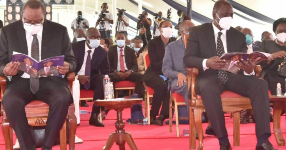 Awkward moment Uhuru, Ruto, Raila come face-to-face in Nyachae's burial service after episode of political jibes