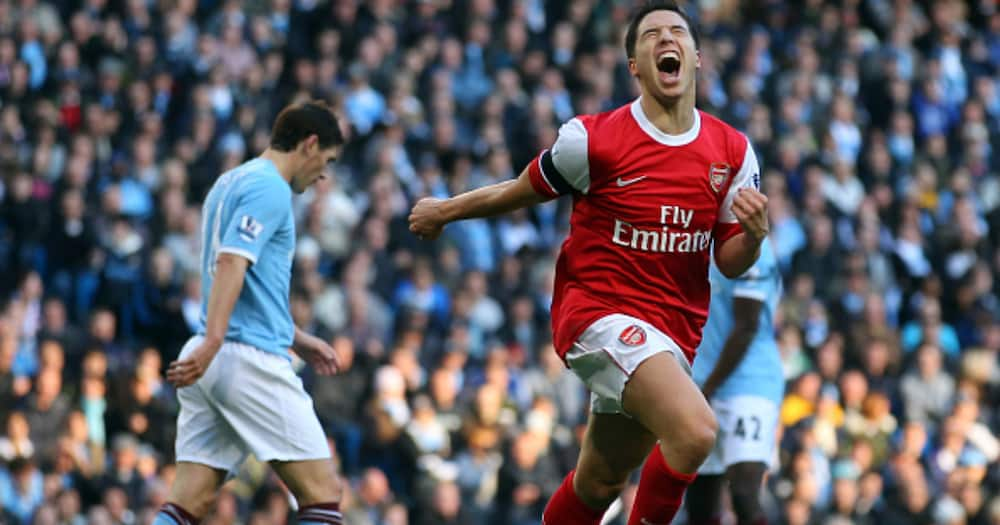 Samir Nasri of Arsenal celebrates his goal during the Barclays Premier League match between Manchester City and Arsenal at City of Manchester Stadium on October 24, 2010 in Manchester, England. (Photo by Clive Rose/Getty Images)