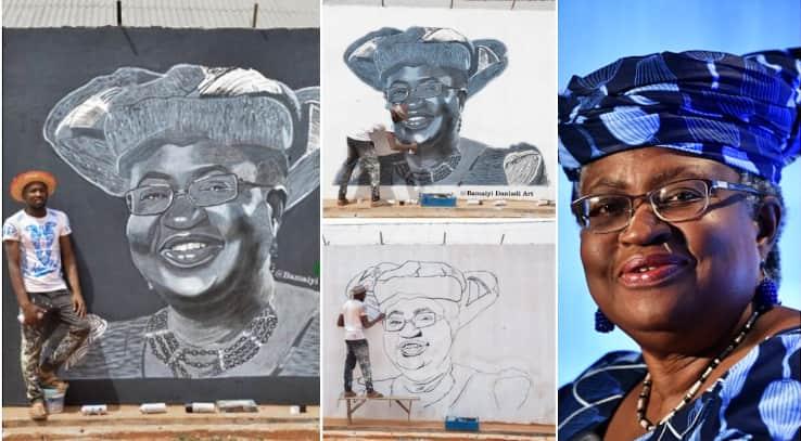 Young man paints WTO boss Okonjo Iweala on a big wall, photos of artwork go viral
