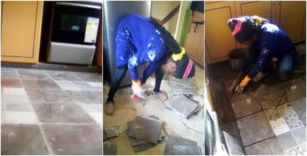 Social media reacts as gorgeous Nigerian lady proudly shows off pictures as she tiles floor for client
