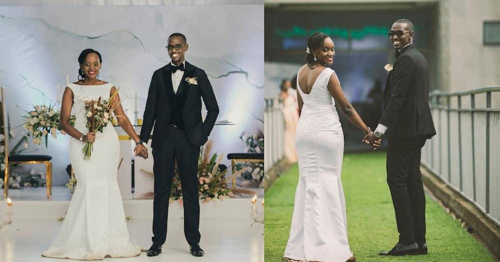 Ugandan Couple, Maurice Angumya and Christine walk down the aisle.