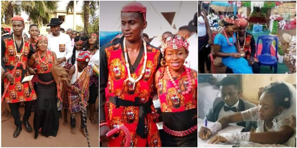 Nigerian couple who have been dating for 12 years finally tie the knot in beautiful ceremony, groom says she never asked for urgent 2k