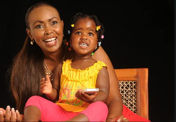 Caroline Mutoko, cute daughter match in angelic, white outfits