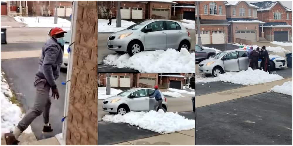 Drama as thief gets stuck in snow after attempted robbery