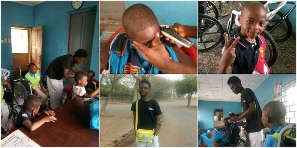 Young Nigerian barber shows love to orphans by giving them free haircuts, many react to adorable photos