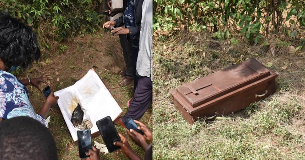 The chicken and the rosary, the coffin also had a snail, amongst. Photo: Kericho Digital.