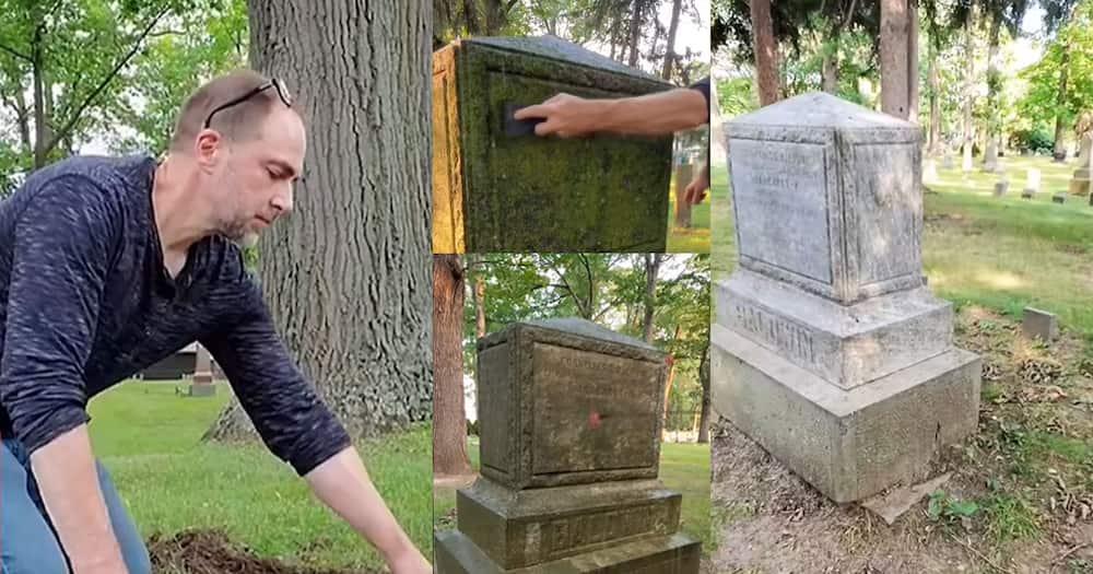 Vince restoring old graves.
