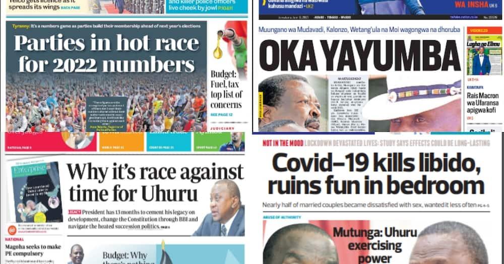 Magazeti Jumatano Juni 9: Gavana Obado na DP Ruto Wanamchezea Raila Ngware Nyanza
