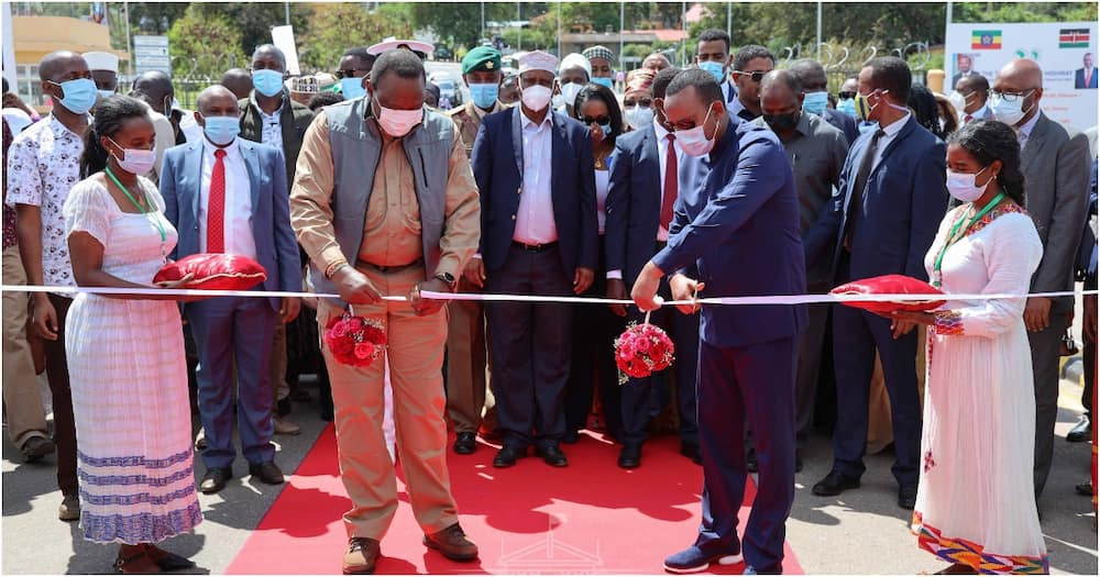 President Uhuru Kenyatta and the Prime Minister of Ethiopia Abiy Ahmed during the inaugural of Moyale One-Stop Border Post. Photo: State House Kenya.