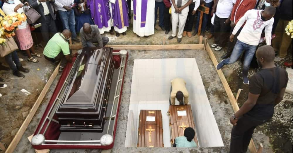 James Gakara's two children are buried in the same grave.