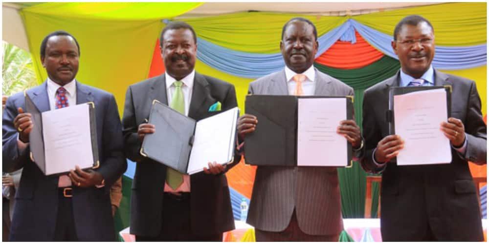 Former NASA principals from left Kalonzo Musyoka, Musalia Mudavadi, Raila Odinga and Moses Wetangula. Photo: NASA