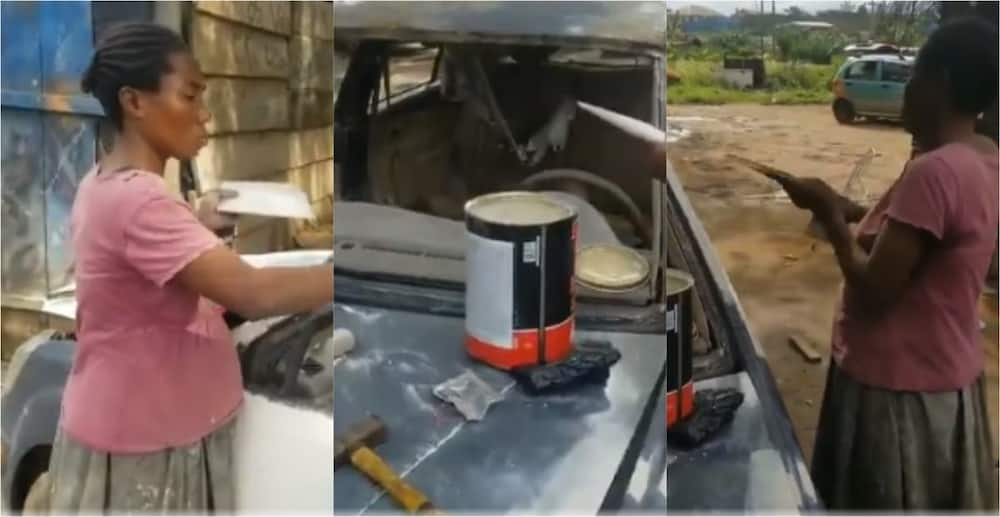 Mama Esther: Meet the expectant woman who works as auto repair and spraying technician (video)