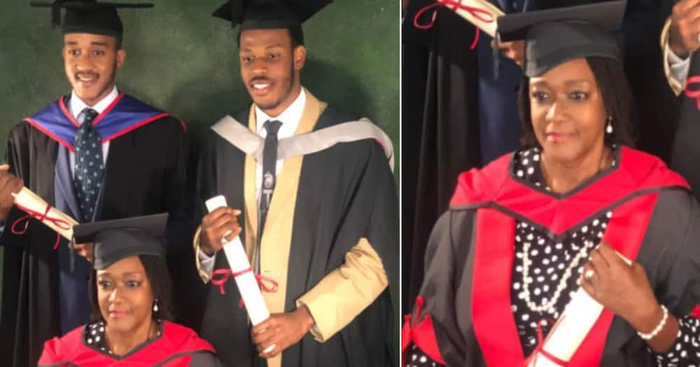 Mum recalls how she graduated from university alongside her two sons.