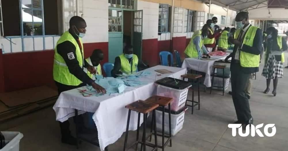 IEBC officials. Photo: Mercy Chebet/Tuko.co.ke.