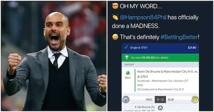 Punter wins KSh1 million bet after correctly predicting 2 outcomes inMan City's 9-0 win over Burton