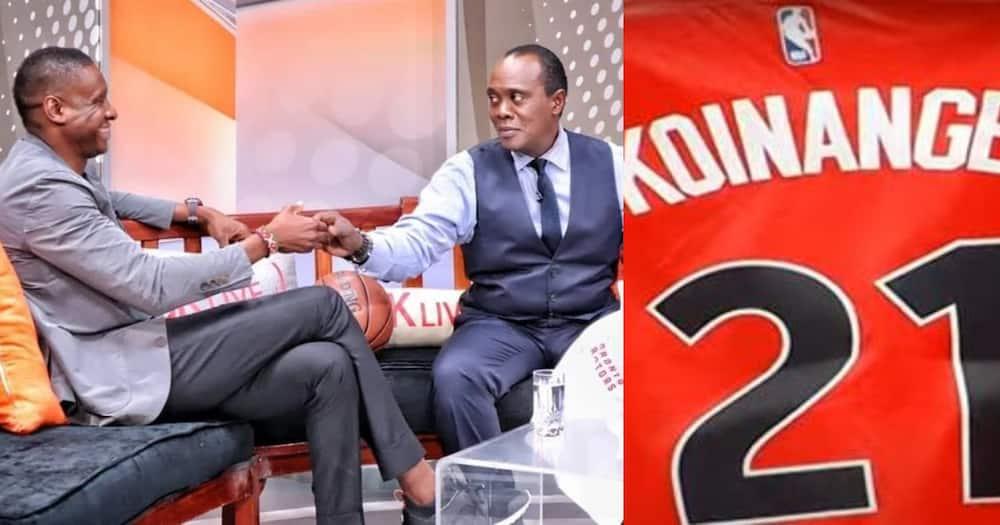 Jeff Koinange receives customise gifts from Raptors president Masai Ujiri.