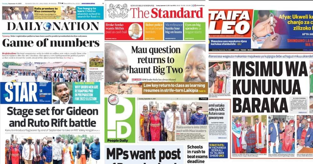 Magazeti Jumanne, Septemba 14: Raila Aahidi Jamii ya Maasai Kuwarejeshea Mashamba Yao