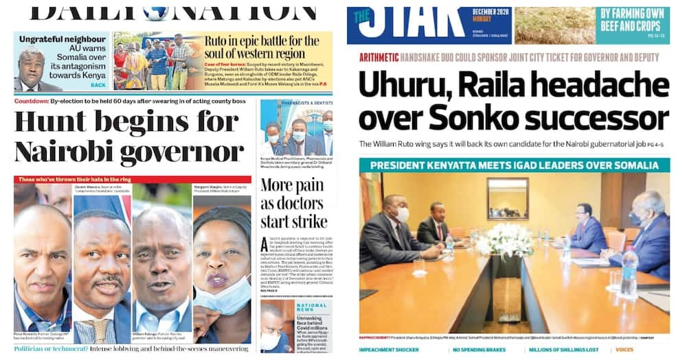 Magazeti Jumatatu Disemba 21: Mrengo wa Huslter wawakosesha usingizi Raila na Rais Uhuru