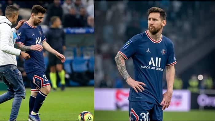 Lionel Messi chased by pitch invader while on the attack during Marseille - PSG clash