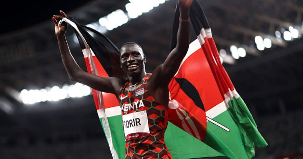 Emmanuel Kipkurui Korir of Team Kenya celebrates winning the gold medal in the Men's 800m Final on day twelve of the Tokyo 2020 Olympic Games at Olympic Stadium on August 04, 2021 in Tokyo, Japan. (Photo by Ryan Pierse/Getty Images)