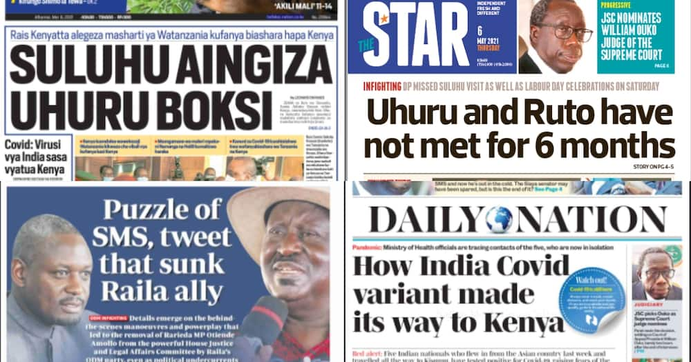 Kenyan newspapers for May 6. Photo: The Standard, Daily Nation, People Daily and Taifa Leo.