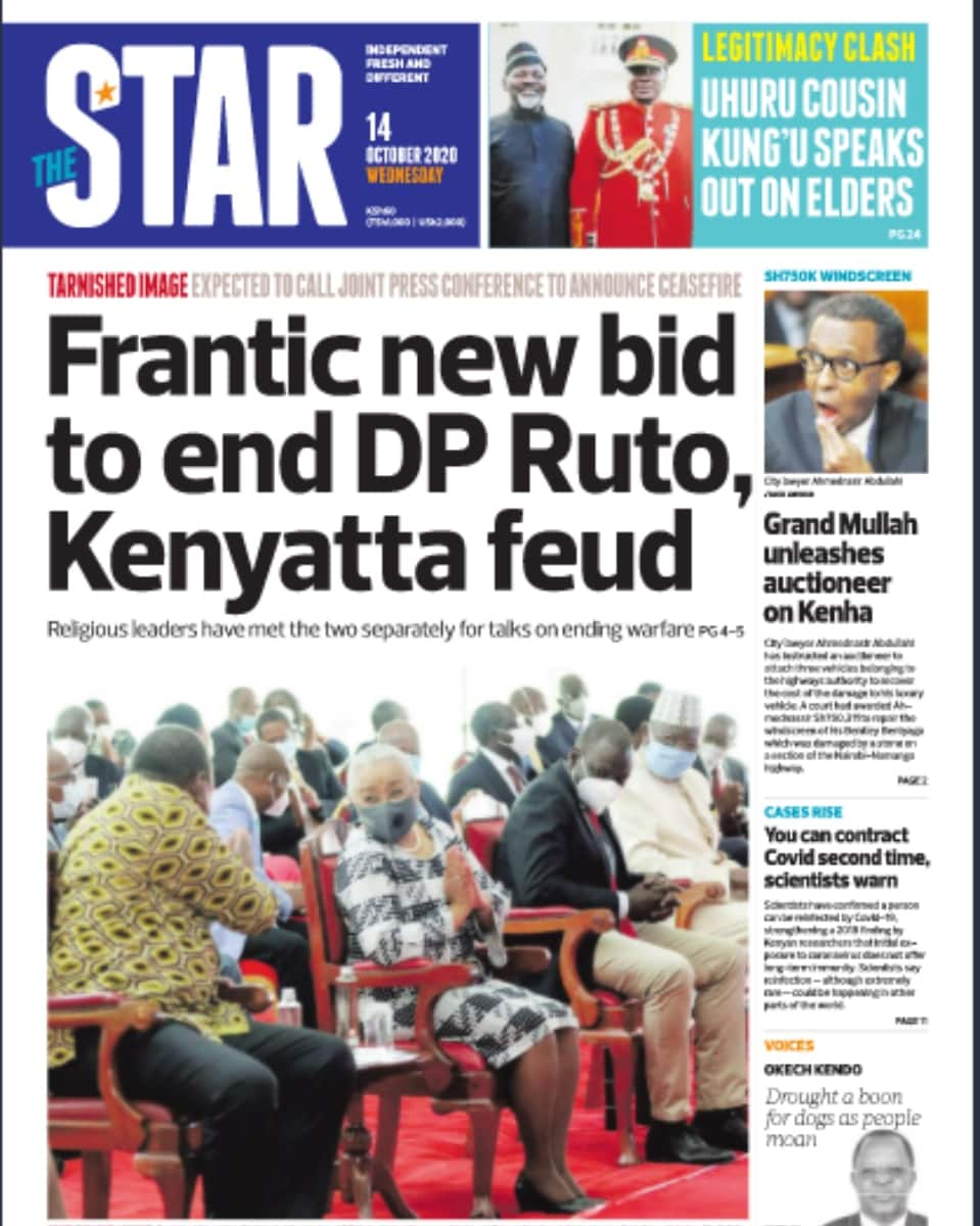 Kenyan newspapers review for October 14: Uhuru, Ruto handshake in the offing as religious leaders move to finalise talks