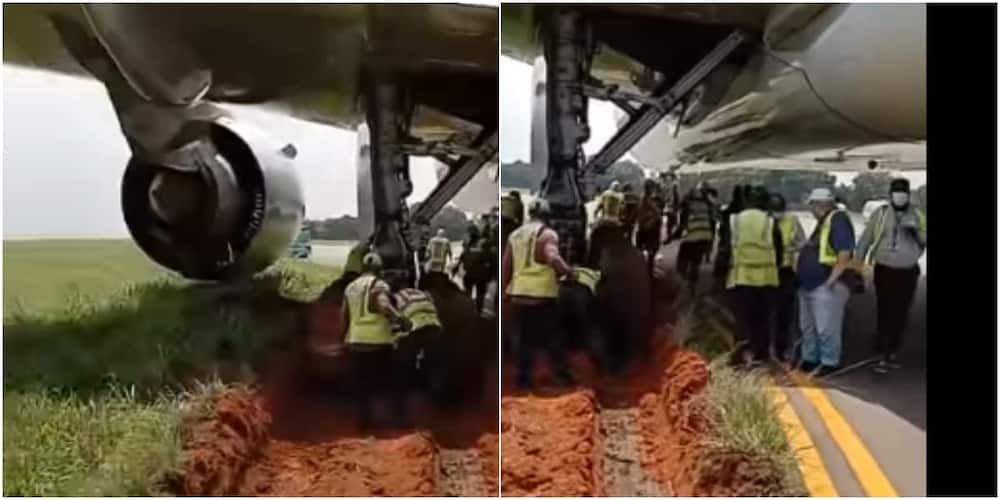 Plane gets stuck in the mud while preparing to take off, video cause stir on social media.
