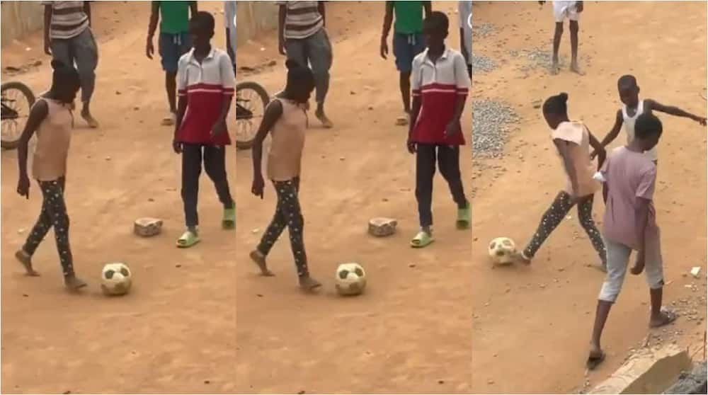 Adorable Video Shows Moment Skillful Girl Spotted on Streets of Lagos Dribbling Her Male Opponents in Style