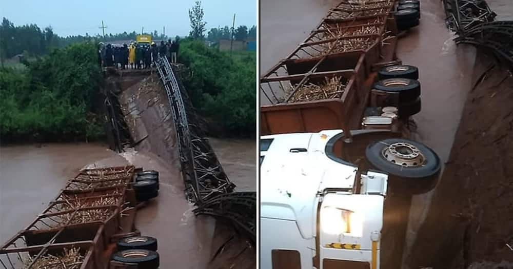 Migori: Truck Ferrying Cane Plunges Into River After Heavy Rains Cut Off Bridge