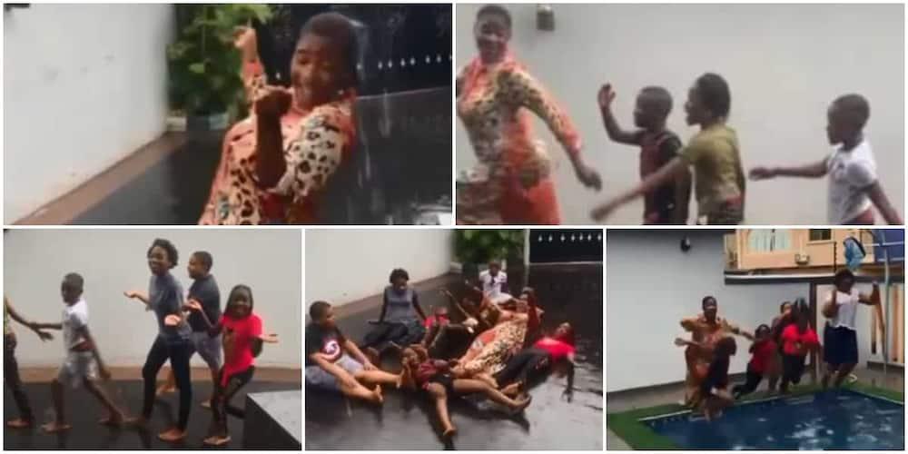 I Am That Aunty Who Breaks Rules: Mercy Johnson Plays With Her Kids, Nieces in the Rain in Fun Video