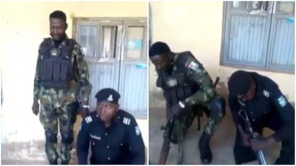 Funny video of gun competition between Nigerian soldier and policeman surfaces online