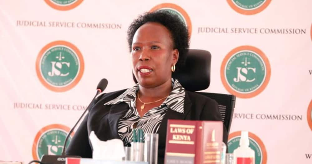 Advocate Alice Jepkoech Yano appearing before JSC for the chief justice position interview. Photo: The Judiciary.