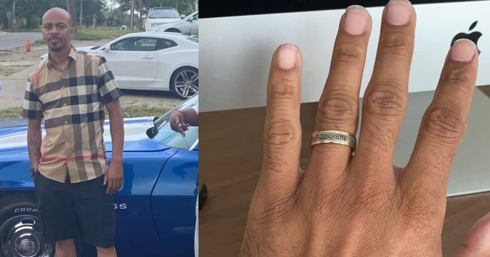 Blacky Black made a ring that had his wife's fingerprints. Photo: Balcky Black.