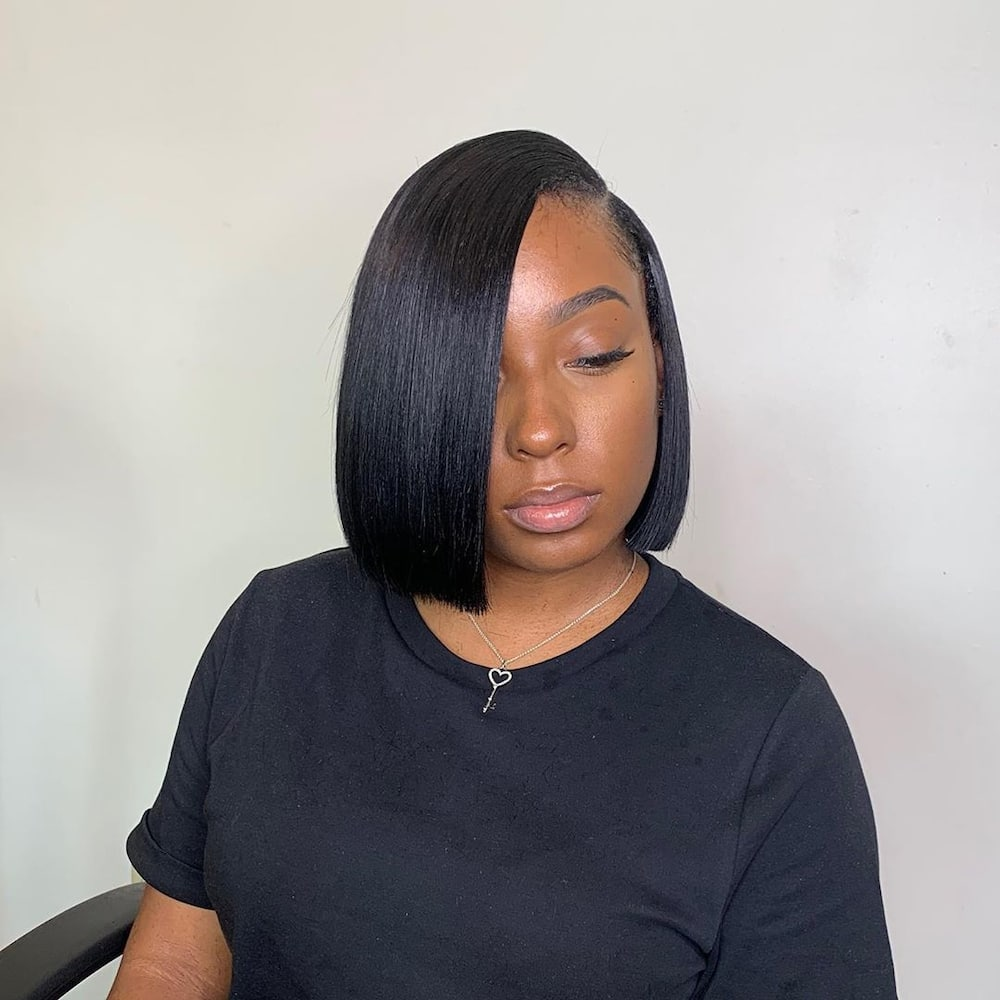 quick weave bob with leave out
