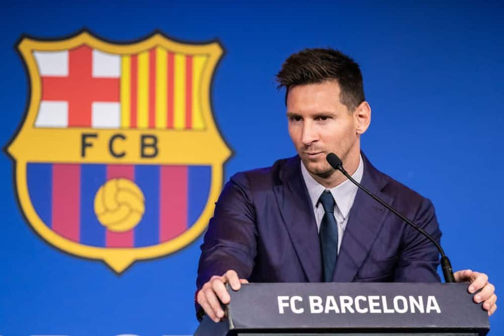 Lionel Messi during his press conference at Barcelona on Sunday, August 8. Photo By Marc Gonzalez Aloma/Europa Press.