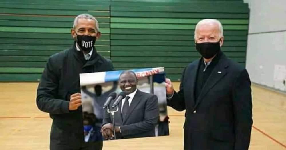 A fake image of US President Joe Biden (r) and ex-President Barack Obama holding a portrait of Kenya's Deputy President William Ruto. Photo: Roselyn Akombe.