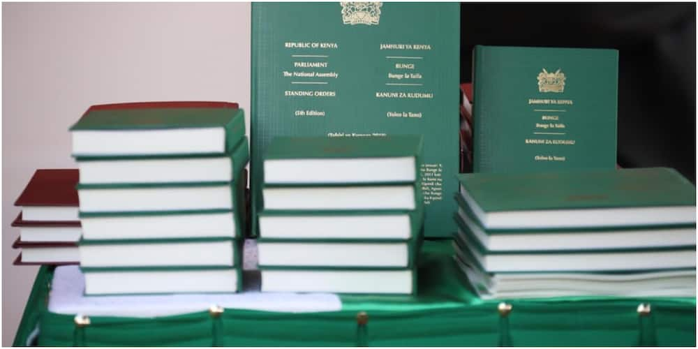 Kiswahili and Bi-lingual Versions of the National Assembly Standing Orders. Photo: Justin Muturi