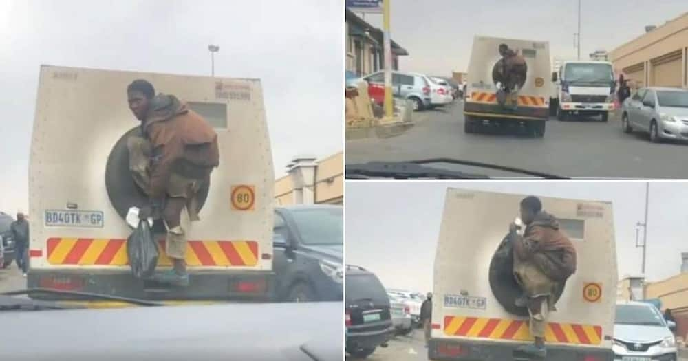 Haibo: Man hitches a ride with money truck, Mzansi can't deal