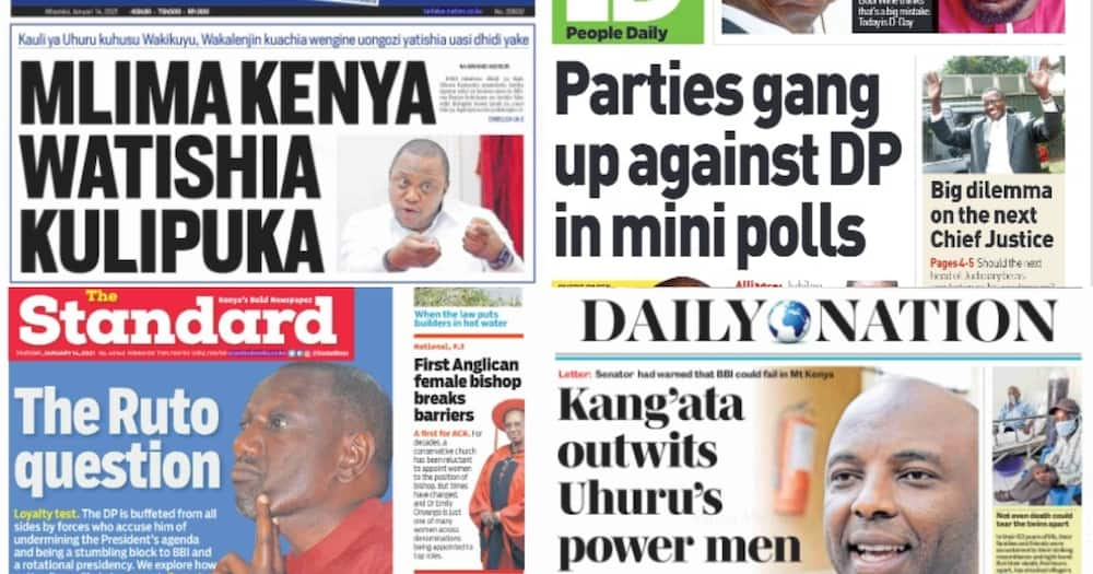 Kenyan newspapers review for January 14: Uhuru displeased with Kang'ata over controversial BBI letter, hunt for his replacement looming