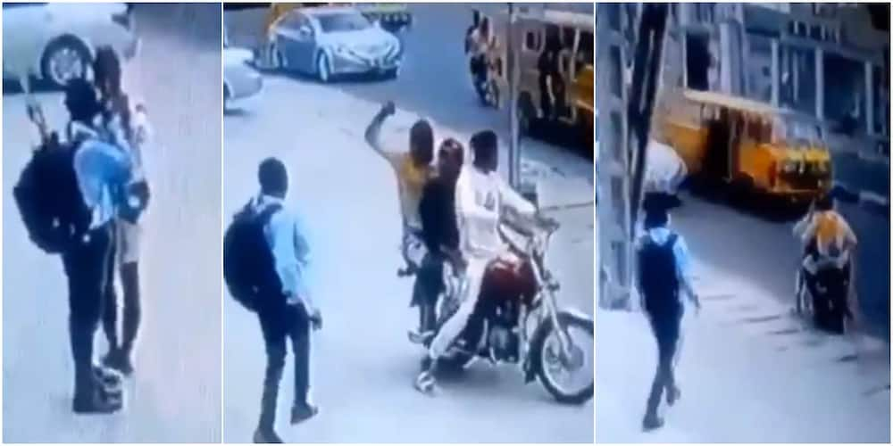 Video shows Nigerian man getting robbed in broad daylight while making call, here's how it happened