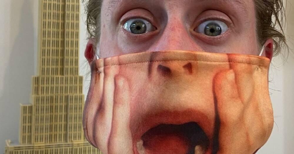 Macaulay Culkin wearing a Home Alone scream mask Photo: culkamania