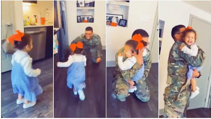 Viral video captures priceless reaction of baby when military father came home after 7 months