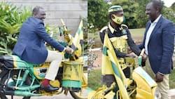 William Ruto Meets Narok UDA Supporter at Karen Residence, Takes Ride on His Boda Boda