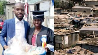 Grateful son flaunts his mom who sold bread to pay his fees at university in emotional photo