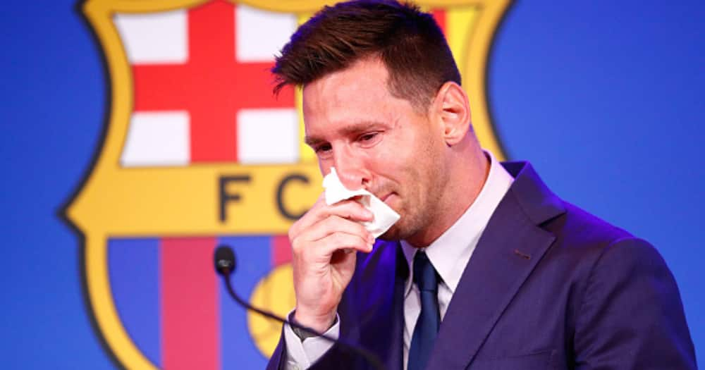 Lionel Messi of FC Barcelona faces the media during a press conference at Nou Camp on August 08, 2021 in Barcelona, Spain. (Photo by Eric Alonso/Getty Images)