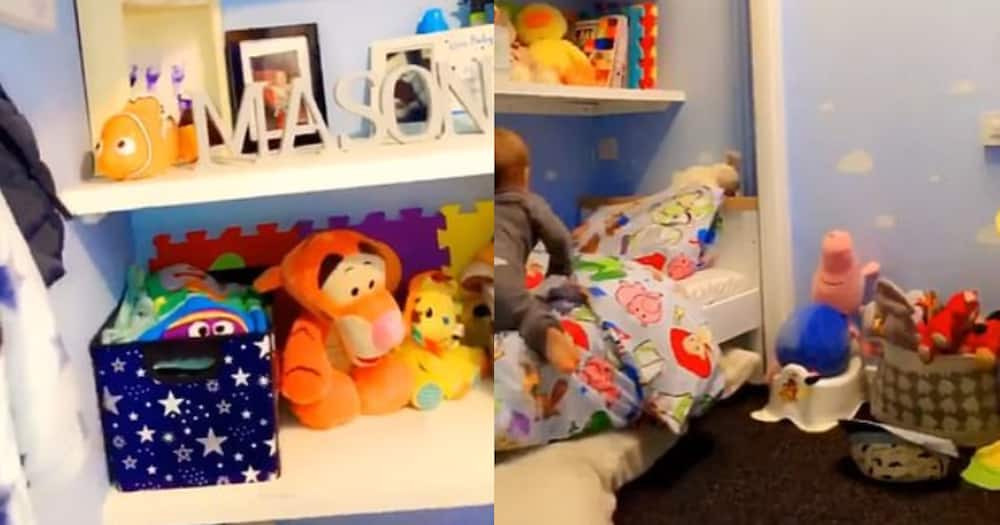 Creative mum transforms tiny cupboard into bedroom for her son