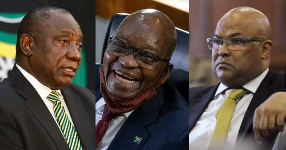 Collage of South Africa President Cyril Ramaphosa (r), former SA president Jacob Zuma, (c) and Arthur Fraser (l). Photo : @MyAnc, @Henry Mthembu.