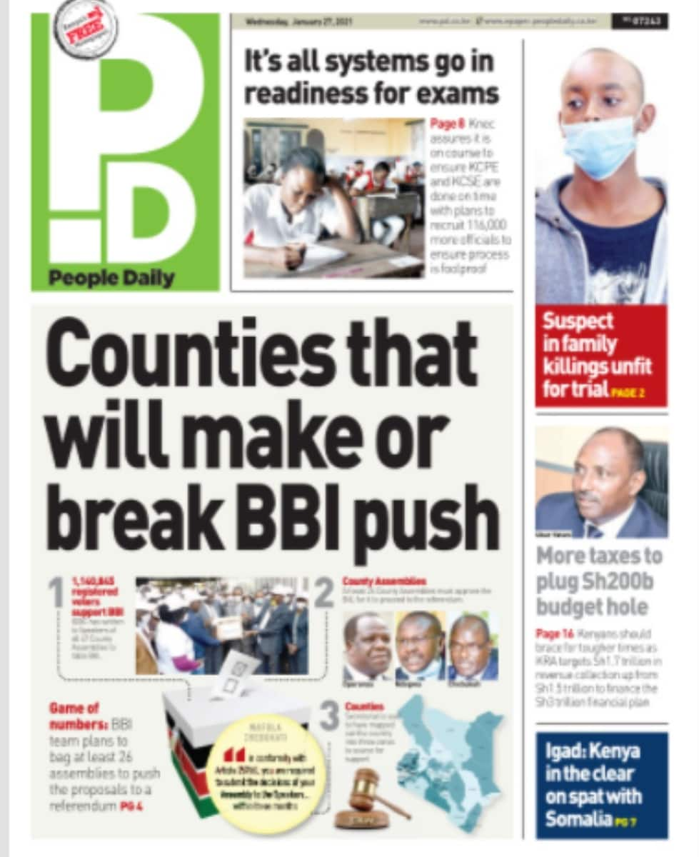 Kenyan newspapers review for January 27: MCAs set to make, break BBI push as bill heads to counties