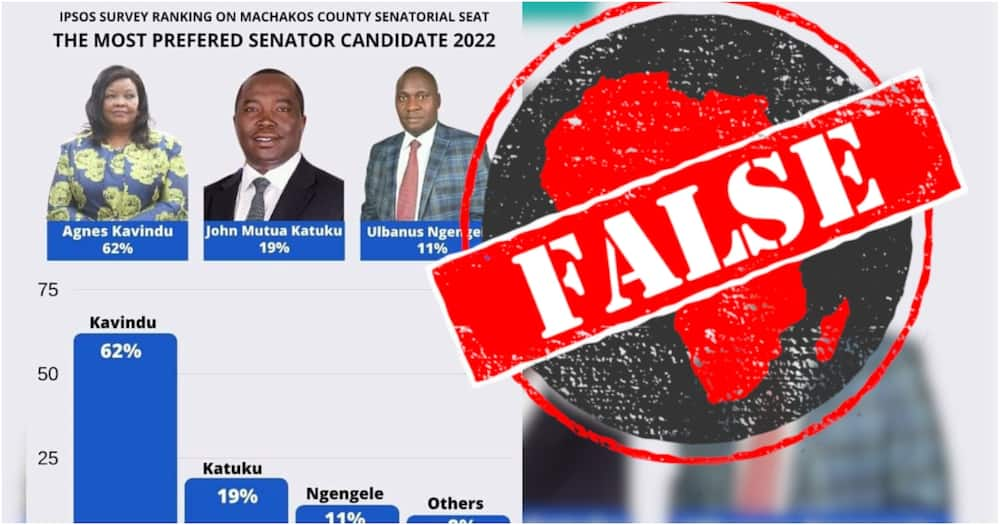 Deputy President William Ruto's candidate, Ulbanus Ngengele, was ranked third with 11%. Photo: Ipsos.