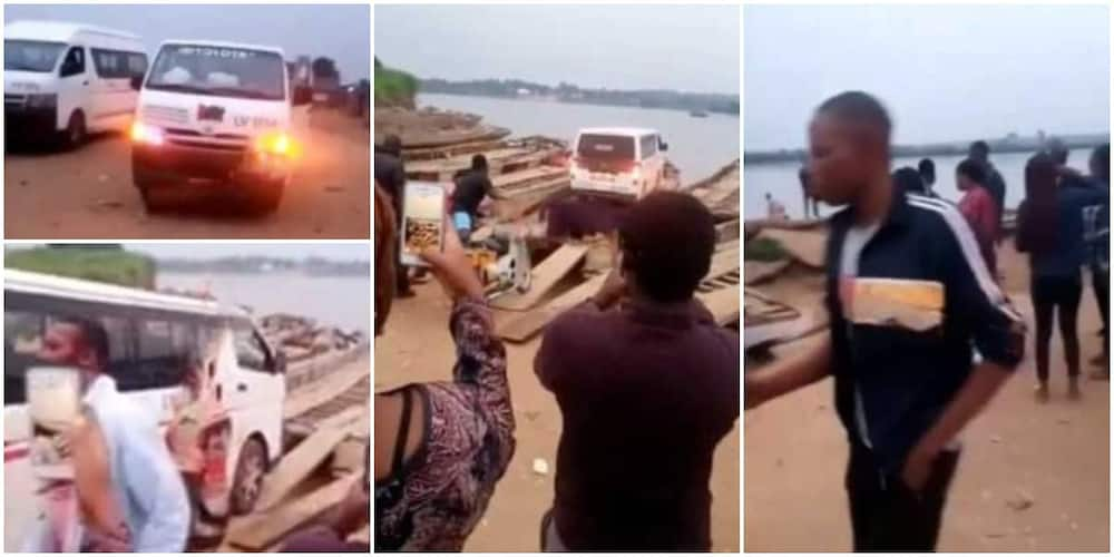 Nigerians react to viral video of NYSC Corp members crossing sea to Taraba state with bus on a boat